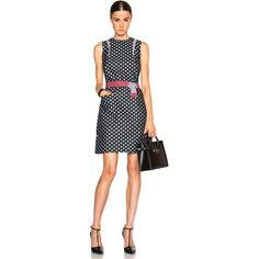 Victoria Beckham Denim Trapeze Dress ($680) ❤ liked on Polyvore featuring dresses, cotton dress, trapeze dress, tent dress, cotton swing dress and swing dress