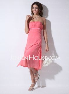 Bridesmaid Dresses - $99.99 - Empire Strapless Tea-Length Chiffon Bridesmaid Dresses With Ruffle (007001106) http://jenjenhouse.com/Empire-Strapless-Tea-length-Chiffon-Bridesmaid-Dresses-With-Ruffle-007001106-g1106