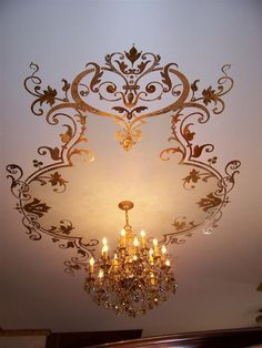 stencil ceiling | 600 jewels glued to stencil dining room ceiling