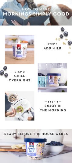 A simple-to-make breakfast choice for simply good mornings. Quaker® Overnight Oats are made at night with a few easy steps so you have one less thing to worry about in the morning. Simply add milk, refrigerate overnight, and enjoy in the morning. Healthy Life, Healthy Snacks, Healthy Eating, Healthy Recipes, Healthy Menu, Breakfast Menu, How To Make Breakfast, Reduce Weight, Lose Weight