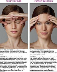 Face exercise, eye opener & brow furrow