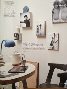 #VTWonen april 2013 p. 119 Wall with favorite photos on wood of different sizes and thickness.