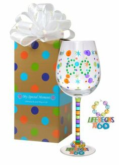 "MoMo Panache My Special Moment Life Begins at 60 Wine Glass with Charm, Gift Boxed by MoMo Panache. $27.00. Holds 14-ounces liquid. Hand Wash Only. Holds 14oz liquid. Mouth blown. Hand painted. Not diswasher safe. MoMo Panache's My Special Moment Life Begins at 60! 14oz wine glass is mouth blown, hand cut and hand painted.  Includes a removable charm that says ""Life Begins at 60""  Gift boxed and includes white self-flower bow. Life is short so let the adventure begin!"