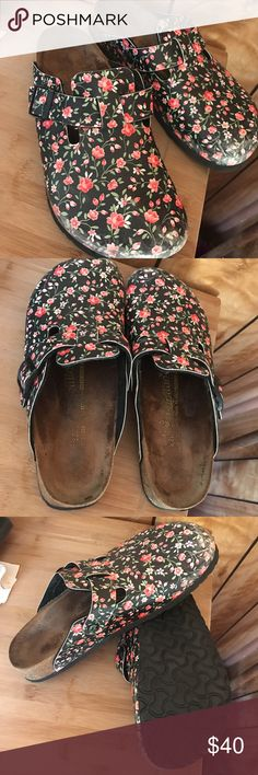 Papilion Birki's floral Papillio birckenstocks size 41 floral please note the scuffing on the tips but there is no other damage they still have a lot of life left ! These florals Birki's are perfect for spring and summer , florals are so in ! These are in used condition Birkenstock Shoes Mules & Clogs