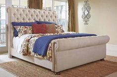 Pin By Meubles Ashley Homestore On Heritage King Upholstered Bed Upholstered Beds Queen Upholstered Bed