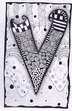 Zentangle Letter X Zebra Letters name bunting por ForeverTangles