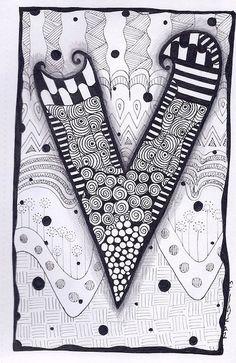Zentangle, Letter V, Zebra Letters, name, bunting, alphabet