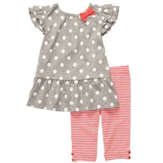 Carter's® Infant Girl 2-Piece Capri-Length Leggings Set #VonMaur #Carters #PolkaDots #Stripes