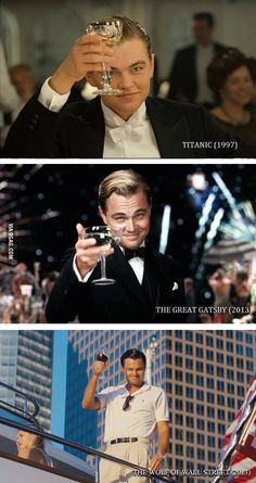 One thing I noticed in the new Wolf of Wall Street trailer. Leo, at it again.