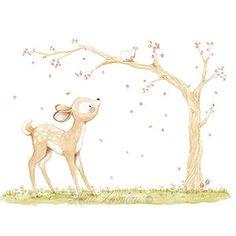 Ilustración infantil ciervo rama