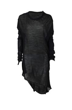 LEON LOUIS | Men\'s black long-sleeve wool jersey sweater. Asymmetric cut hem, ribbed neckline and close fit.
