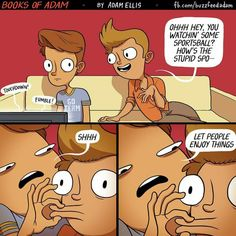 """Ellis has made a name for himself creating relatable comics, and has even published Books Of Adam: The Blunder Years, a set of """"hilarious trials and Web Comics, Funny Comics, Adam Ellis Comics, Overwatch, Funny Jokes, Hilarious, Stupid Memes, Funny Gifs, Funny Art"""