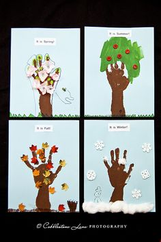 This is a cute idea for an art project as a representation of learning in a unit about daily and seasonal changes. I would do a handprint each season to see how much they have grown and changed as well as the seasons :)