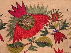 Tsevres from Thrace, detail, stylized poppies with winding border. Silk, gold and silver thread on cotton - Asia Minor stitch. The Greek Institute Embroidery Transfers, Embroidery Patterns Free, Vintage Embroidery, Embroidery Art, Textiles, Palestinian Embroidery, Greek Design, Textile Artists, Fabric Art