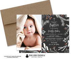 Christmas holiday baptism invitations in rustic black chalkboard with winter foliage details and modern white lettering. Choose ready-made printed cards with envelopes or printable baptism invitations that you can DIY. Optional kraft envelopes and envelope liners also available, only at digibuddha.com