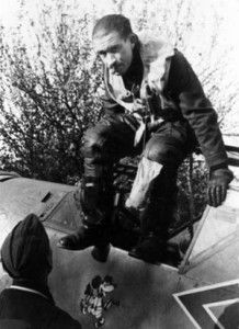 During his tenure as commander of the famed fighter squadron of the Luftwaffe, Adolf Galland emerges from the cockpit of his Messerschmitt fighter after landing at a forward airfield in France near the coast of the English Channel in Pin by Paolo Marzioli Luftwaffe, Adolf Galland, Ww2 Aircraft, Fighter Aircraft, Douglas Bader, Ww2 Planes, Becoming A Pilot, Battle Of Britain, Fighter Pilot
