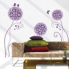 Cheap wall sticker, Buy Quality removable wall stickers directly from China dandelion flower Suppliers: Purple Dandelion Flower Ball Wallpaper Environmental Quality Pvc Transparent Removable Wall Stickers Butterfly Wall Decals, Flower Wall Stickers, Cheap Wall Stickers, Wall Stickers Murals, Girls Room Wall Decor, Diy Room Decor, Removable Vinyl Wall Decals, Flower Ball, Window Desk