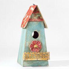Blue Metal Birdhouse contemporary birdhouses
