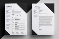 Resume/CV - Tanner by bilmaw creative on @creativemarket