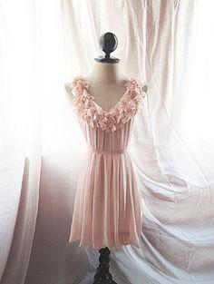 Baby Pink Angel Hearts Love Romantic Dress Autumn Lovely Soft Blush Misty Dreamy Havisham Mille Feuille Heart Cutouts Chiffon Flowy Dress