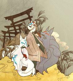 Japanese Mask Tattoo, Japanese Fox Mask, Japanese Shrine, Japanese Art, Folklore Japonais, Fox Illustration, Illustration Pictures, Art Fox, Fox Boy