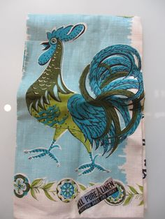 Vintage Rooster Linen Tea Towel by MemphisNanney on Etsy, $14.50
