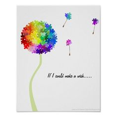 Autism Awareness Dandelion Wishes Poster
