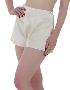 1920s Style Lingerie What Katie Did Vintage Peach Satin French Knickers L2019 L2019 $54.75 AT vintagedancer.com