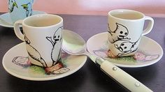 """New """"Distraught Ghosties"""" espresso cup/saucer set!  :D"""