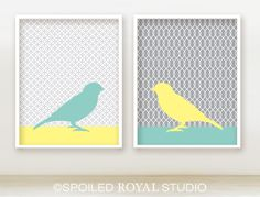 Love Song Birds 8x10 Prints - Set of 2 - Grey Yellow and Teal - Modern bird Posters. $28.00, via Etsy.