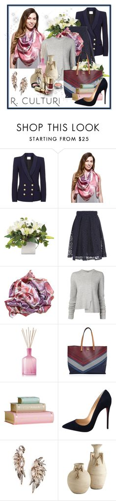 """""""Premium, beautifully designed silk scarf. Made in Italy"""" by dressedbyrose ❤ liked on Polyvore featuring Pierre Balmain, Jane Norman, Proenza Schouler, LAFCO, Tory Burch, Christian Louboutin, BaubleBar and modern"""
