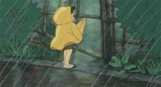 girl trying to hold on coat in rain - raining wind gif anime Studio Ghibli Films, Art Studio Ghibli, Rain Animation, Coat Outfit, Coat Dress, Rain Gif, Anime Gifts, Cartoon Gifs, Aesthetic Gif