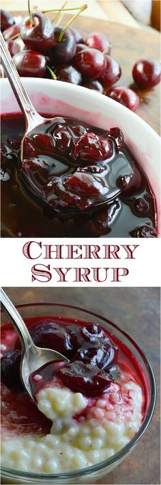 perhaps get Traverse City cherries this year! This Cherry Syrup Recipe makes a great homemade sauce for just about any dessert! Serve with breakfast pancakes, over yogurt or as an ice cream topping. The possibilities are endless! Homemade Syrup, Homemade Sauce, Homemade Recipe, Fruit Recipes, Dessert Recipes, Syrup Recipes, Sweet Cherry Recipes, Pancake Recipes, Nutella Recipes