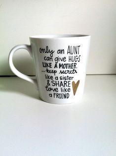 Only An Aunt Coffee Mug-Handpainted/Handwritten-Aunt, Special Gift, Loved One on Etsy, $14.00
