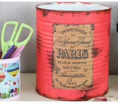 Recycle Cans, Recycling, Tin Can Crafts, Arts And Crafts, Tin Can Art, Recycled Tin Cans, Formula Cans, Tins, Diy Home Decor