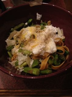 Asparagus and Poached Eggs over Pasta More
