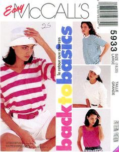 McCall's 5933 Misses Tee Shirts & Tank Tops Sewing Pattern New Med 14 - 16 #McCalls