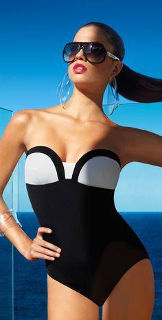 Jets Classique Black and White Bandeau Swimsuit