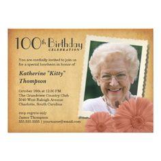 100th Birthday Vintage Daisy Photo Invitations