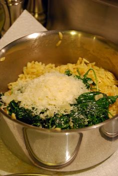 Orzo Pasta with Spinach and Parmesan.