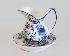Vintage White and Blue Ceramic Pitcher and Bowl Set - Vintage Pitcher Sets, Vintage Table Decor, Home Decor, Pitcher and Basin Set by Koalatyvintage on Etsy