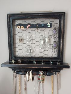 Hanging Jewelry Box black distressed with wire and black Jewelry Holder Wall, Jewelry Boxes For Sale, Wall Mount Jewelry Organizer, Jewelry Wall, Hanging Jewelry Organizer, Wall Organization, Jewelry Organization, Bridal Shower Gifts, Bridal Gifts