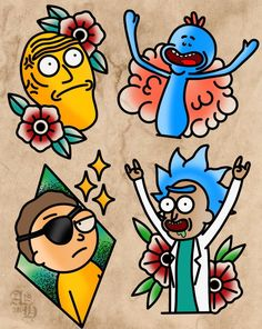 Rick and Morty x Tattoo Flash - Rick and Morty x Tattoo Flash - Rick And Morty Drawing, Rick And Morty Tattoo, Tattoo Flash Sheet, Tattoo Flash Art, Tattoo Sketches, Tattoo Drawings, Cervo Tattoo, Ricks Tattoo, Symbole Tattoo
