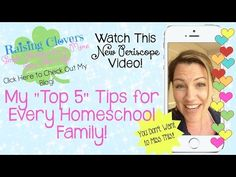 """MY TOP 5 TIPS FOR EVERY HOMESCHOOL FAMILY {Tips from a Homeschool Veteran & Speaker} - YouTube Video! This Periscope video was """"live"""" from CHEA of California, the homeschool convention I was speaking at this July. I shared some of the tips that I presented during my workshop with my Periscope audience. I hope you like it! Please be sure to subscribe to my YouTube channel & follow me on Periscope @RaisingClovers."""
