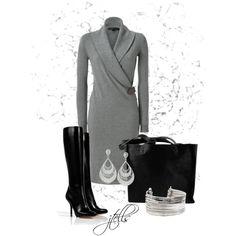 RALPH LAUREN Steel Melange Cashmere Shawl Collar Dress