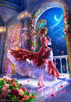 La Dama de Las Rosas... Wallpaper...By Artist Unknown...