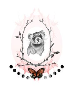 Prairie Dreams Ferret 8x10 Giclee Print Limited by BurrowingHome, $30.00 (I think the branches and the ferret would make a great tattoo)