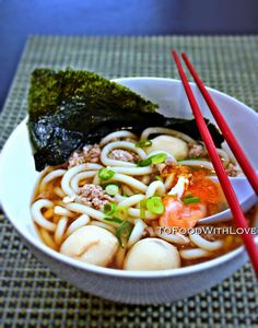To Food with Love: Quick and Easy: Udon Noodles with Pork in Miso Broth