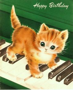 Vintage Birthday Scrap Card Kitten Piano