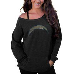 Cuce San Diego Chargers Women's Black Sideliner II Crew Sweatshirt